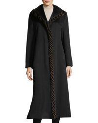 Fleurette - Magnetic Wool Duster Coat W/ Spiral Mink Fur - Lyst