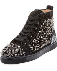 Christian Louboutin - Louis Flat Mixed Fabric Sneakers - Lyst
