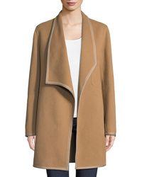Elie Tahari - Christina Contrast-trim Wool Coat - Lyst