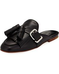 Tod's | Leather Tassel Fringe Loafer Mule | Lyst
