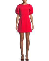 MILLY - Kyle Italian Cady Puff-sleeve Dress - Lyst