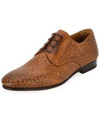 Ferragamo - Men's Tramezza Woven Leather Oxford Shoe - Lyst