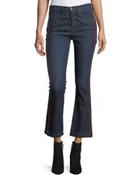 Veronica Beard - Carolyn Baby Boot Cropped Jeans W/ Tux Stripes - Lyst
