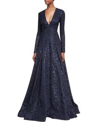 J. Mendel - Deep V-neck Fil Coupe Ball Gown - Lyst