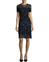 Elie Tahari - Ophelia Short-sleeve Lace Sheath Dress - Lyst