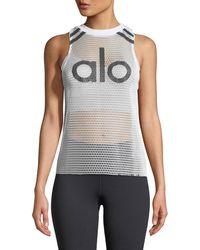 Alo Yoga | Logo Racerback Mesh Jersey Tank | Lyst