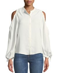 7 For All Mankind - Button-down Cold-shoulder Top - Lyst