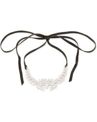 Fallon - Monarch Leather & Crystal Choker Necklace - Lyst