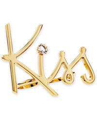 Lanvin | Two-finger Golden Kiss Ring | Lyst