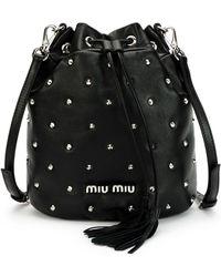 Miu Miu - Leather Studded Bucket Bag - Lyst