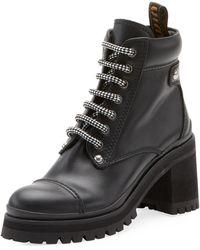 Miu Miu - Leather Platform Hiker Boot - Lyst