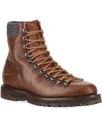 1ceb29b7e48d Brunello Cucinelli - Men s Calf Leather Hiker Boot - Lyst