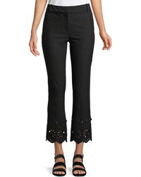 10 Crosby Derek Lam - Cropped Flare Stretch-cotton Trouser With Eyelet Embroidery - Lyst