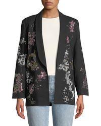 Libertine - Floral Crystal-embellished Tie-waist Wool Blazer - Lyst