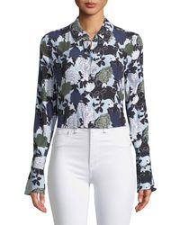 Equipment - Daphne Button-front Long-sleeve Floral-print Silk Shirt - Lyst