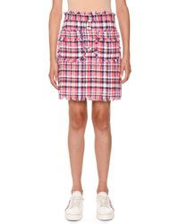 MSGM - Frayed Plaid Tweed Skirt - Lyst