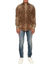 baebf1cc Dolce & Gabbana Leopard Button-down Shirt in Black for Men - Lyst