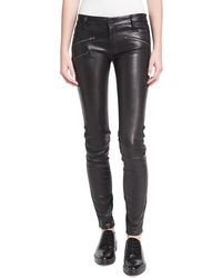 Etienne Marcel - Em1801 Mid-rise Leather Skinny W/ Zip Detail - Lyst