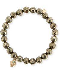 Sydney Evan - 8mm Champagne Pyrite Beaded Bracelet With Diamond & Turquoise Hamsa - Lyst