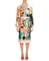 Marni - Statue Print Silk Midi Skirt - Lyst