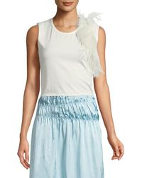 Helmut Lang - Crewneck Sleeveless Cotton Tank With Feathers - Lyst