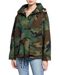 Harvey Faircloth - Camo-print Half-zip Hooded Parka Jacket - Lyst