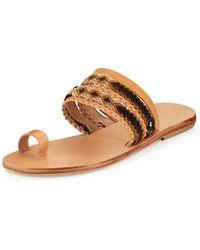 Elina Lebessi - Daphne Woven Toe-ring Flat Slide Sandal - Lyst