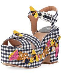 d71256e0163 Laurence Dacade - Helissa Embroidered Gingham Platform Sandal - Lyst