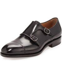 Ferragamo - Minato Tramezza Calfskin Double-monk Shoe - Lyst