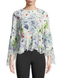 Clearance Wholesale Price Purchase Avalon poppy-print silk-crepe blouse Diane Von Fürstenberg e09D7afq