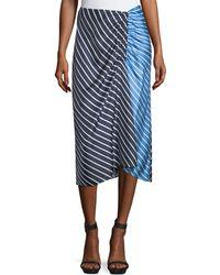 Tibi - Delphina Striped Colorblock Satin Midi Skirt - Lyst