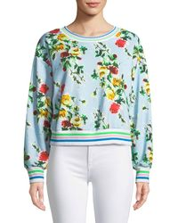MILLY - Tyler Rose-print French Terry Sweatshirt - Lyst
