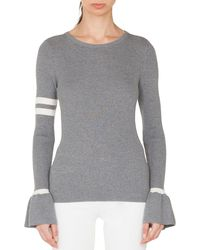 Akris Punto - Crewneck Striped Long-sleeve Wool Knit Pullover Sweater - Lyst