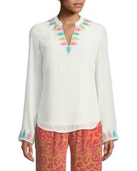Le Sirenuse - Long-sleeve Split-neck Silk Crepe Tunic W/ Embroidery - Lyst
