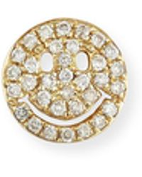 Sydney Evan - 14k Pavé Diamond Happy Face Single Stud Earring - Lyst