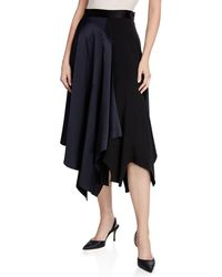 Monse - High-rise Asymmetric Draped Satin Skirt - Lyst