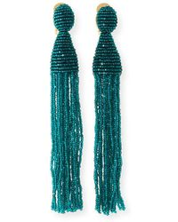 Oscar de la Renta - Long Beaded Tassel Clip-on Earrings - Lyst