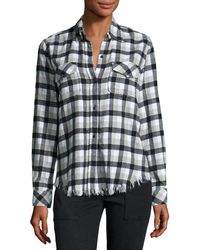Current/Elliott - Perfect Plaid Fray-hem Shirt - Lyst