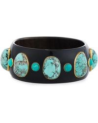 Ashley Pittman | Michezo Turquoise-studded Dark Horn Bangle | Lyst
