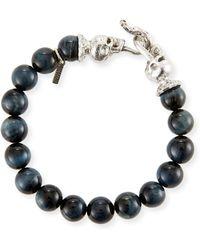 Emanuele Bicocchi - Men's Blue Tiger Eye Sterling Silver Bracelet - Lyst