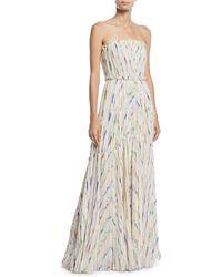 J. Mendel - Strapless Pleated Brushstroke Silk Gown - Lyst
