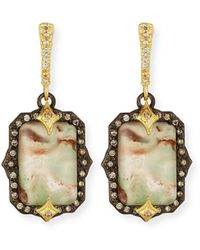 Armenta - Old World Emerald-shaped Aquaprase Earrings With Diamonds - Lyst