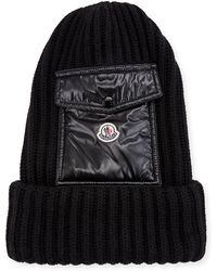 52a39389145 Lyst - Moncler Men s Cable-knit Cashmere Beanie Hat in Black for Men