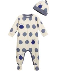 Burberry - Hearts & Dots Footie Pajamas W/ Matching Hat - Lyst