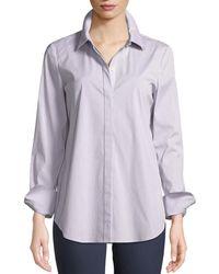 Lafayette 148 New York - Scottie Button-front Long-sleeve Coy Striped Blouse - Lyst