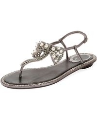 Rene Caovilla - Leather Sandal With Embellished Bow - Lyst