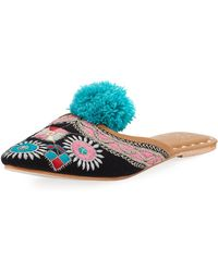 Figue - Embroidered Pompom Flat Mule Slide - Lyst
