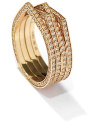 Repossi - Antifer Four-row Ring With Diamonds In 18k Gold - Lyst