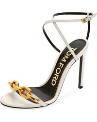 0bc836543d77 Lyst - Tom Ford Curb-chain Platform 115mm Sandals in Black