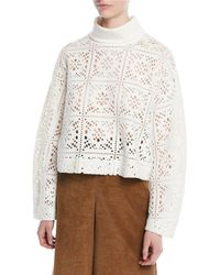 See By Chloé - Turtleneck Long-sleeve Cutout Sweater - Lyst